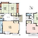 建物136.45㎡(41.27坪)、車庫17.22㎡(5.2坪)含む ゆったりとした住空間(間取)