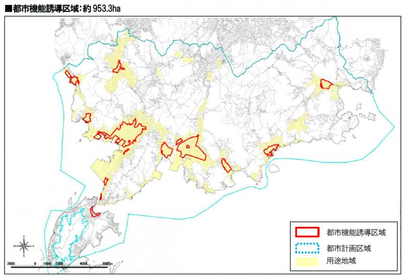 都市機能誘導区域の地図